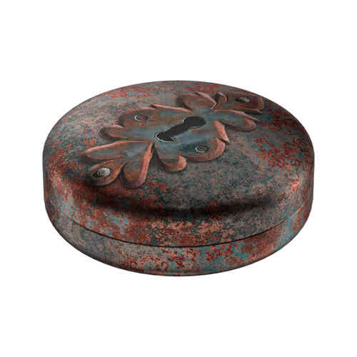 Patina tin box round