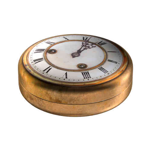 Antique clock tin box round