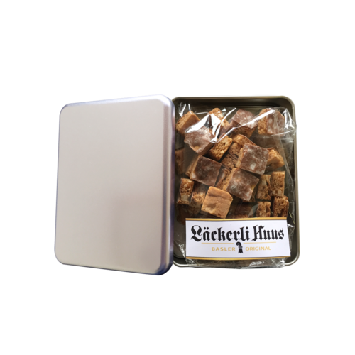 Printable tin filled with Basler Läckerli Piccolo* 80g